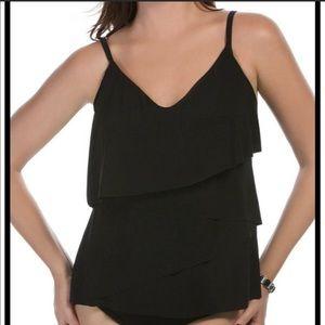 Magicsuit Solids Chloe Black Tankini Top Size 12